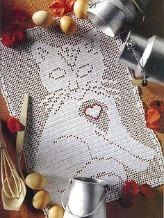 Cutiful kitty cat crochet filet work with diagram