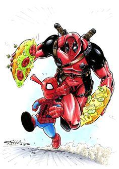 Deadpool Spiderham by Killersha