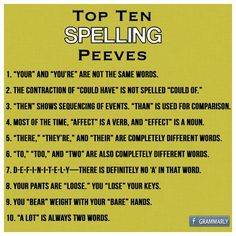Spelling peeves! These are some of the most common mistakes people make in their grammar and spelling online. Simple things such as two words and one words are ommon mistakes.