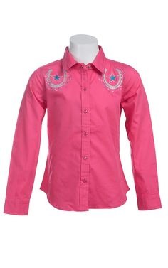 Cumberland Outfitters® Girl's Pink with Silver Glitter Horseshoes & Turquoise Stars Long Sleeve Western Shirt