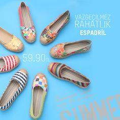 "Vazgeçilmez rahatlik ""Espadril"" #yazaazkaldi #rahat #shoes #espadril #modsimo #modaartiksenin  http://www.modsimo.com/espadril"