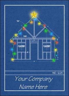 Your clients will love the Blueprint Christmas Card, designed with an architectural theme and accented for the Christmas season. Card features a beautiful, glowing star and a colorful string of lights surrounding the building.