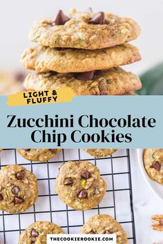These light and fluffy zucchini chocolate chip cookies are easy to make and a delight to eat! Ready to enjoy in less than 30 minutes, these easy cookies are chewy and full of texture from the oats and walnuts. #chocolatechipcookies #cookierecipe #easybaking
