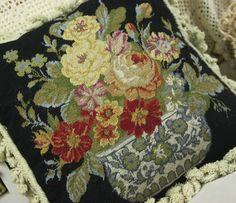 "16"" Vintage Handmade Floral Needlepoint Pillow All Petit Point Handicrafts P1 | eBay"