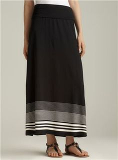 striped fold over maxi skirt
