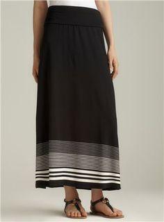 striped fold over maxi skirt