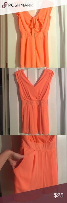 GB Romper Bright orange, pockets, bow tie in the back. Size Small. Worn once. Looks new Gianni Bini Dresses Midi