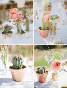 love all the cactus, succulent and airplants used as centerpieces from this palm springs wedding!