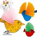 Birds with fanned wings craft Kids Crafts, Craft Activities For Kids, Preschool Crafts, Projects For Kids, Diy For Kids, Arts And Crafts, Paper Crafts, Paper Birds, Bird Theme