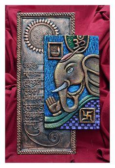 Art work using clay . Ganesha Art, Ganesha Painting, Lord Ganesha, Madhubani Painting, Mural Wall Art, Mural Painting, Indian Crafts, Indian Home Decor, Indian Art