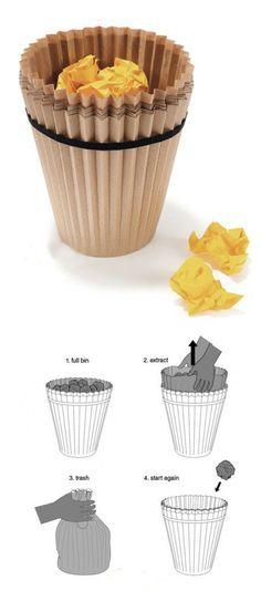 Curiosa papelera fabricada con #papel reciclado. // #wastebasket made from #recycled paper