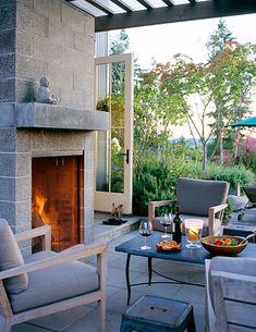 residential, veranda, stone fireplace, fire, dining, garden, furniture