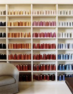 I would love to have this wall! The art of display// Brunello Cucinelli Italian Home- Harper's BAZAAR Thread Storage, Yarn Storage, Atelier Design, Serger Thread, Sewing Room Organization, Italian Home, Sewing Studio, Sewing Rooms, Home Pictures