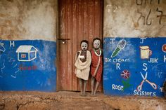 steve mccurry(1950- ), ethiopia. omo valley, 2014. two children stand outside a…