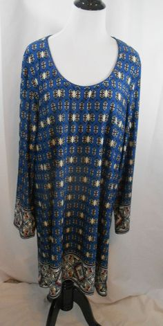 G Collection 3X Blouse Blue Black White Red Pullover Long Sleeves Shirt NWOT #GCollelction #KnitTop #Career