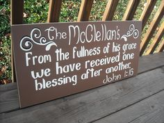 "24"" CUSTOM Personalized FAMILY name BIBLE verse Wood Sign Wall Decor Plaque. $64.00, via Etsy."