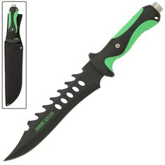 Fiendish Zombie Killer Fixed Blade Saw-Back Bowie Knife- Neon Green Zombie Apocalypse Gear, Zombie Weapons, Ninja Weapons, Apocalypse Survival, Blades Of Glory, Doomsday Preppers, Zombie Attack, Zombie Hunter, Ideal Tools