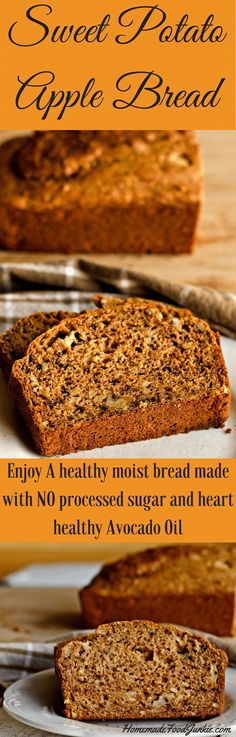 Sweet Potato Apple Bread is full of sweet potatoes and chunky apples.Sweetened naturally with maple syrup. Avocado oil and walnuts add healthy fats for a heart healthy, dairy free snack your whole family will love.