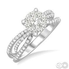 5/8 Ctw Diamond Lovebright Engagement Ring in 14K White Gold