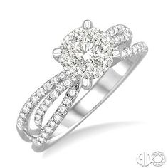 5/8 Ctw Diamond Lovebright Engagement Ring in 14K White Gold