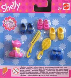 """Barbie Shelly (KELLY) Accessories Pack w Shoes, Bear & More (2002) by Mattel. $20.98. Shelly (KELLY) Accessories Pack is a 2002 Mattel production. Model #47625. Included in the package is a pink plastic Bear that's approx. 1-1/8"""" tall w/yellow molded bow around the neck. There's 4 Pairs of Shoes including: dark blue Ballet Slippers, blue Sandal Shoes w/T strap in front, a pair of pink Dressy Shoes with an ankle strap & molded bow on front, & a pair of yellow Loafer styl..."""