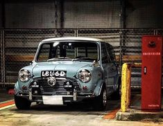 Another beautiful car in blue! From your car is amazing! - Love the spotlights. Mini Cooper S, Mini Cooper Classic, Classic Mini, Minis, Vintage Racing, Vintage Cars, Mini Morris, Automobile, Aston Martin Dbs