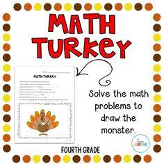 Thanksgiving Turkey Math Activity: 4th Grade
