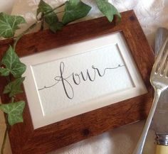 Hand Lettered Table Number Card
