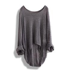 Grey Batwing Casual Loose Asymmetric Sweater
