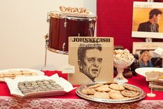 Johnny Cash Inspired Wedding ...I like how they used a drum as a display for a dessert! <3