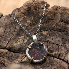 Grey druzy pendant on silver chain gemstone set in silver bezel setting with brass accent prongs Check more at