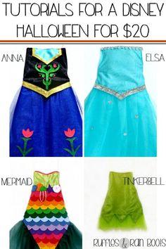 DIY #Disney #Halloween Costumes 2014: Includes Anna, Elsa, Mermaid and Tinkerbell | Ruffles and Rain Boots