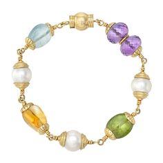 """Seaman Schepps """"Baroque"""" Gemstone & Pearl Bead Bracelet"""
