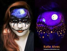 Of course I'd be using my black light makeup for a Halloween look! That's the best time to use it! I've got a scene on my forehead with a haunted castle. Dripping with Halloween - Black Light Makeup Halloween Makeup Looks, Easy Halloween Costumes, Halloween Make Up, Halloween Ideas, Costume Ideas, Halloween Scene, Halloween Outfits, Halloween Crafts, Halloween Magic