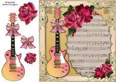 Mooie Roze Gitaar met Rozen 8x8
