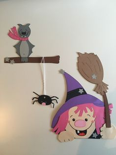 Fensterbild Tonkarton Witch Bat Őszi Halloween dekoráció Herbstdeko • EUR 6.99
