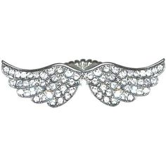 """2 1/2"""" Wide Double Wings Ring with Rhinestones, In Crystal with Silver Finish . $12.99"""