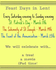 Feast Days in Lent