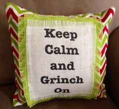 Burlap Grinch/Christmas Pillow by VineandWineBoutique on Etsy, $25.00