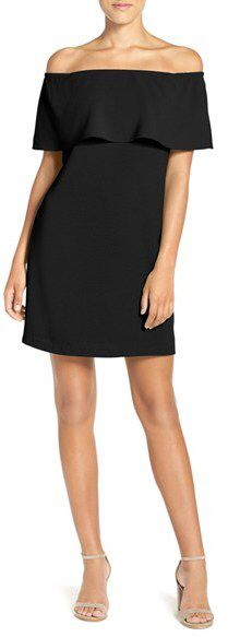 Women's Charles Henry Off The Shoulder Woven A-Line Dress