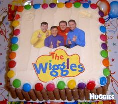 Ice cream cake with Wiggles picture, smarties & choc biscuit finger border