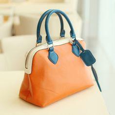 Contrast Color Stitching Big Paragraph Candy Color Hand Carry Messenger Handbag