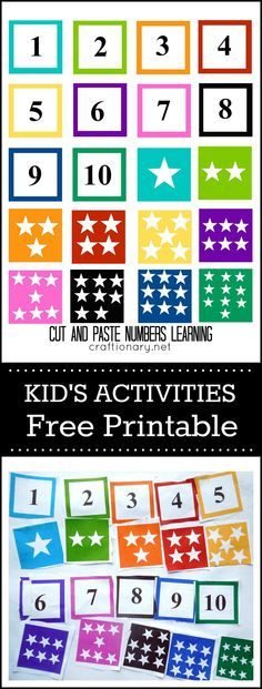 Free printable cut and paste numbers activity. Great for kids during March Break.