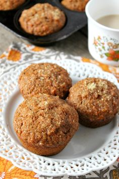 Swap out the apple sauce for Greek Yogurt in these already wholesome Whole Wheat Carrot Muffins!