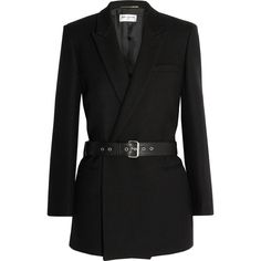 Saint Laurent Belted double-breasted wool-twill blazer ($3,850) ❤ liked on Polyvore featuring outerwear, jackets, blazers, coats, coats & jackets, black, twill blazer, black wool blazer, black wool jacket and twill jacket
