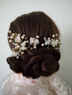 Pearl And Crystal Hair Pins Bridal Hair Pin Gold by DesignByIrenne