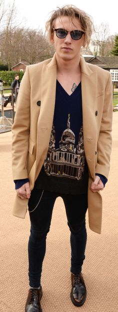 S/S14 campaign star Jamie Campbell Bower wearing Burberry at the Burberry A/W14 show in London
