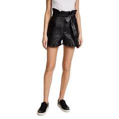 Marissa Webb Tina Leather Shorts ($505) ❤ liked on Polyvore featuring shorts, black, leather shorts, lace up shorts, zip shorts, zipper shorts and leather lace-up shorts