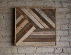 Reclaimed Wood Wall Art Decor Lath Pattern Geometric 19 x