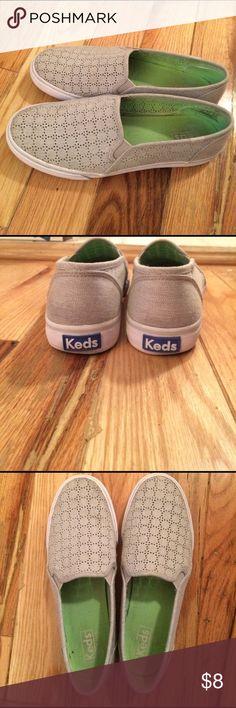 Keds Slip on Sneakers Size 8.5 light grey eyelet slip on sneakers by Keds Keds Shoes Sneakers